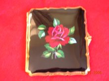 This Apsolutly Stunning Case, This Case Has A Deep Black Gloss Enameled Background & A Red Rose