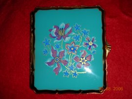 Beautiful Stratton Cigarette Case Aqua Marine With Plum Coloured Flowers