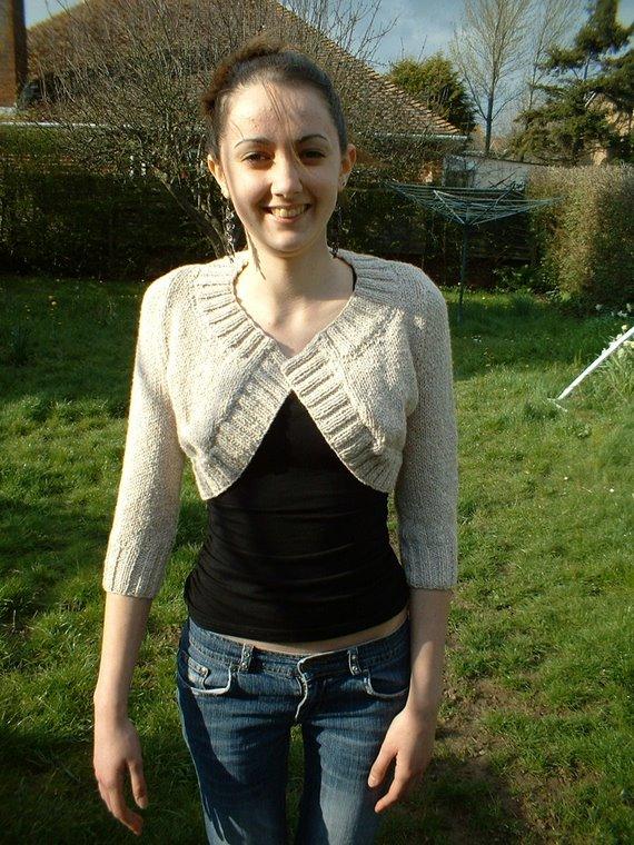 Beige double knit cardi