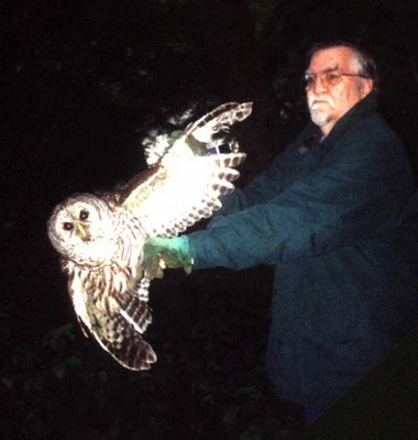 author with spotted owl