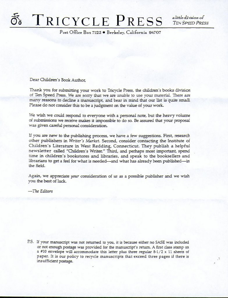 Yesterday I Got A Letter From Tricycle Press The Childrens Book Division Of Ten Speed Form Rejection