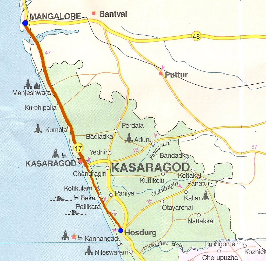 Down The Konkan Coast Day Mangalore Kanhangad - Kanhangad map