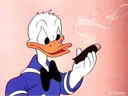 Donald Duck holding a cigar