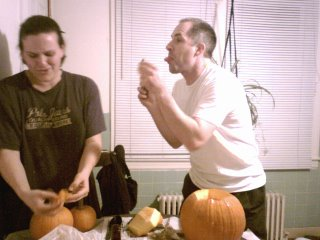 tom's first pumpkin carving