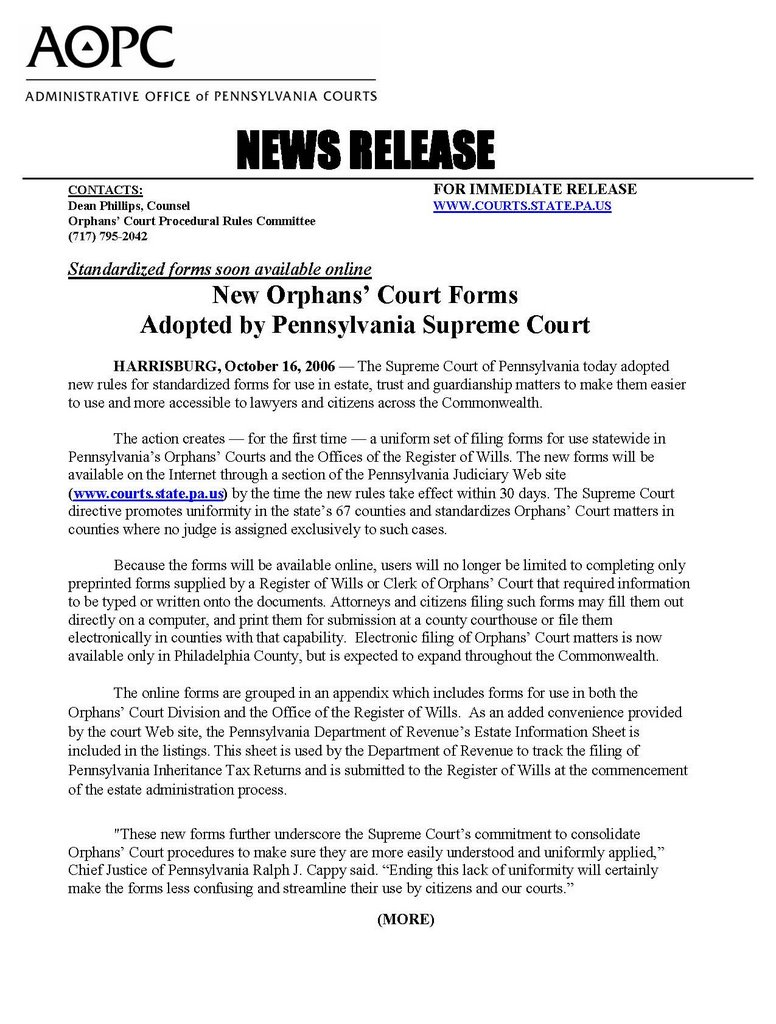 Pa elder estate fiduciary law blog october 2006 new uniform orphans court forms in pa falaconquin