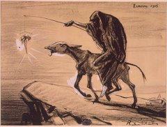 Dibujo a lápiz del artista Boardman Robinson (1876-1952), que muestra su posición pacifista.