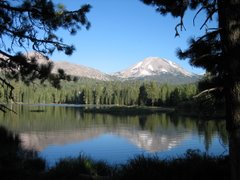 Lassen Peak and Chaos Crags reflected in Lake Manzanita