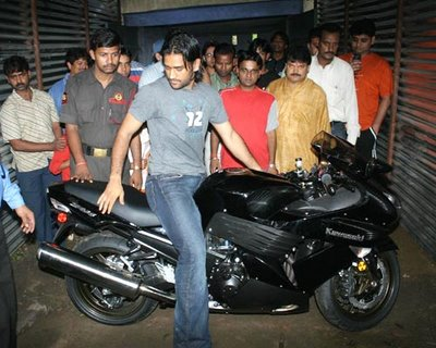 Dhoni on his Kawasaki ZX14 Superbike