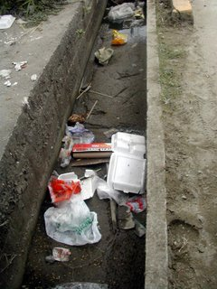 Tela, Honduras, trash in ditch