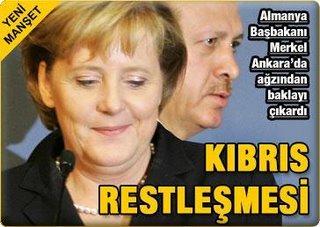 A questão de Chipre durante o encontro de Erdoğan com Angela Merkel