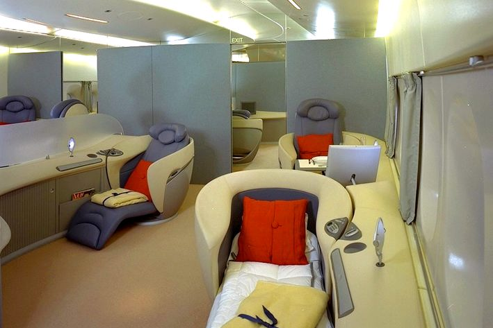 im so amazed by all the space in the airbus a380 this airplane will truly revolutionize the air travel you can have a bar a jacuzzi yes
