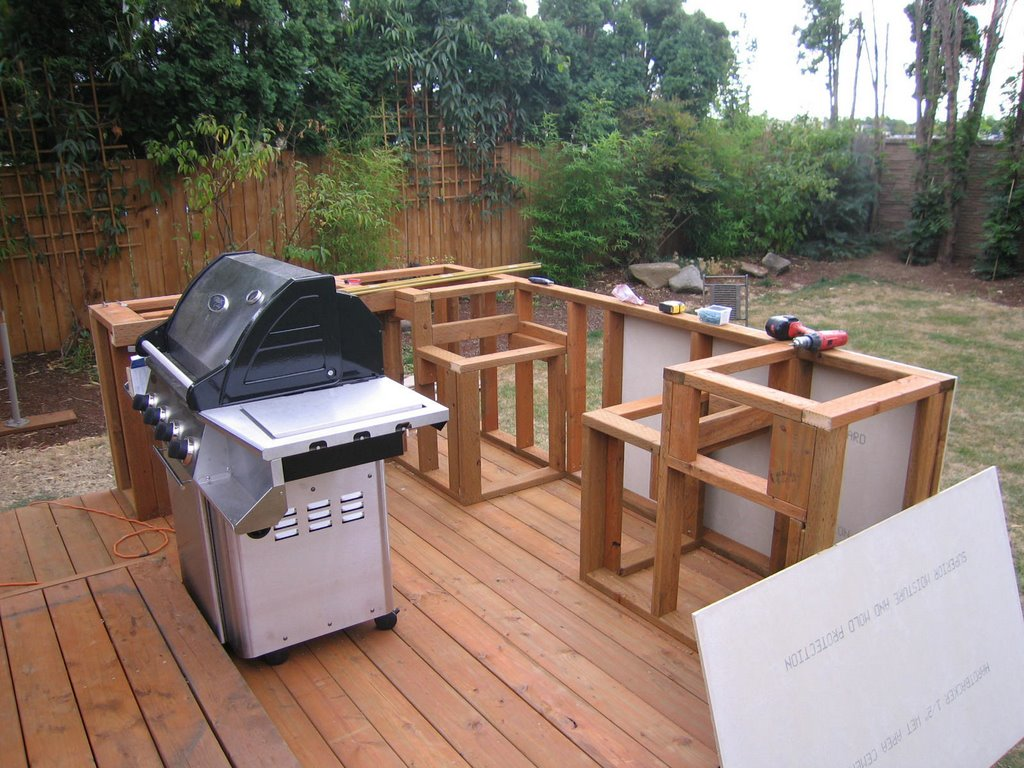 Outdoor cooking bbq island made simple step 1 framing for Building an outside kitchen