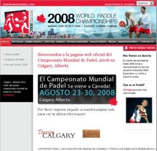 Web oficial Mundial de Paddle 2008