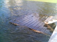 Water breaking over the lower deck