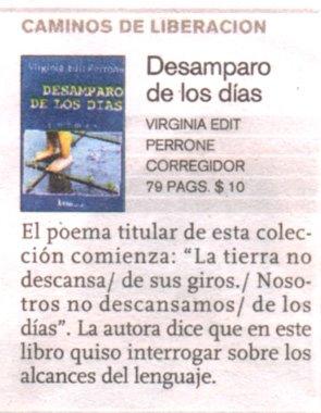 """Breve Comentario sobre """"Desamparo de los Días"""" publicado en Ñ, el suplemento Cultural Clarín."""