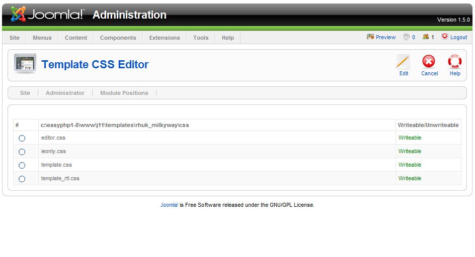 Joomla! 1.5: 1.5 beta Template Editing: HTML and CSS