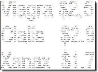 Captura de pantalla con varios mensajes spam ASCII art