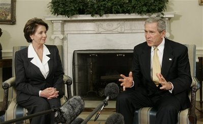 Image of Nancy Pelosi and George W. Bush