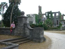 Michele at the Carnegie mansion ruins