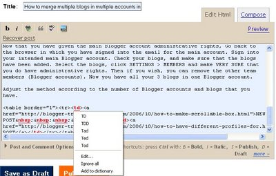 Spell check for Blogger with FireFox with Google toolbar