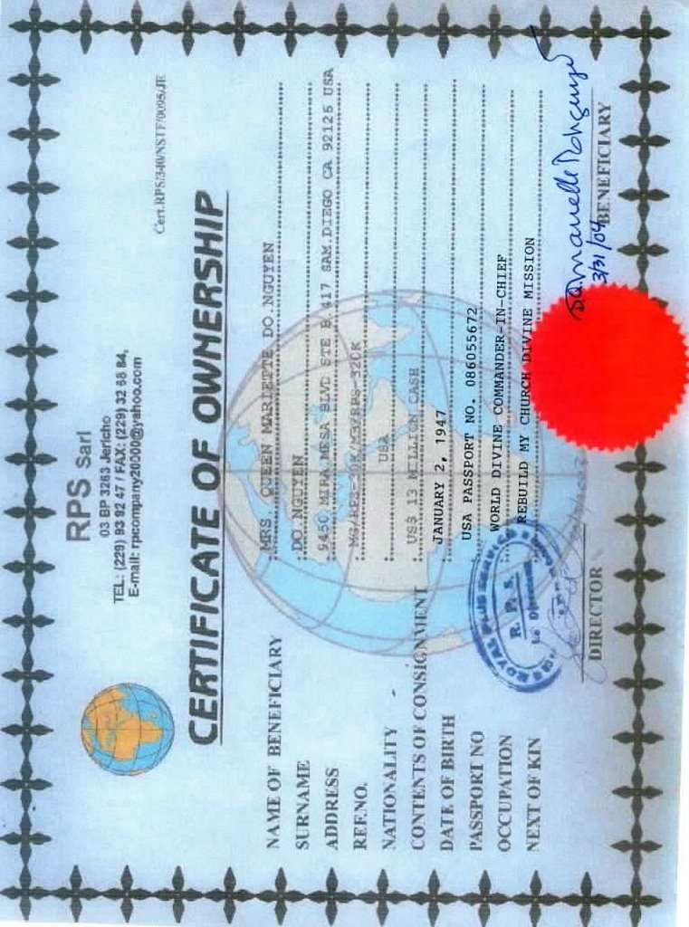 justiceispending: Transfer Approval and Ownership Certificate