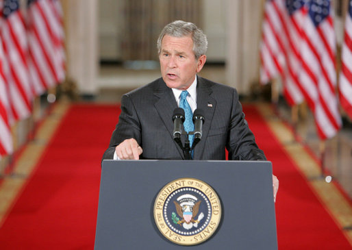 President George W. Bush emphasizes a point Wednesday Sept. 6, 2006 in the East Room of the White House, as he discusses the administration's draft legislation to create a strong and effective military commission to try suspected terrorists. The bill being sent to Congress, said President Bush, 'reflects the reality that we are a nation at war, and that it is essential for us to use all reliable evidence to bring these people to justice.' White House photo by Kimberlee Hewitt