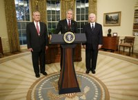 Flanked by Secretary of Defense Donald Rumsfeld, left, and Dr. Robert Gates, President George W. Bush announces the resignation of Secretary Rumsfeld Wednesday, Nov. 8, 2006, and the intention to nominate Dr. Gates as his successor. White House photo by Paul Morse.