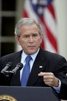 President George W. Bush holds a press conference in the Rose Garden Wednesday, Oct. 11, 2006. 'In response to North Korea's actions, we're working with our partners in the region and the United Nations Security Council to ensure there are serious repercussions for the regime in Pyongyang,' said President Bush. White House photo by Paul Morse
