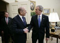 President George W. Bush welcomes Israeli Prime Minister Ehud Olmert to the White House for a meeting Monday, Nov. 13, 2006. White House photo by Eric Draper.