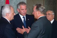 Congressman Radanovich speaks to Croatian Prime Minister, Dr. Ivo Sanader and Croatian Ambassador, Neven Jurica, while the Croatian Minister of Culture, Bozo Biskupic looks on. (July 2005) Croatian Caucus, house.gov