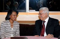 New York City, September 18, 2006, During her trip to the 61st UN General Assembly, Secretary Rice met with Palestinian Authority President Abbas. State Department photo by Michael Gross.