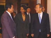 Secretary Rice with Foreign Ministers Taro Aso and Ban Ki-moon after Dinner at Foreign Minister Ban's Residence. Secretary Rice is traveling to Tokyo, Japan, Seoul,South Korea, Beijing, China and Moscow, Russia from October 17 to 22. State Department photo by Mr. Yu Song-kon