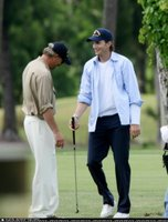 Ashton Kutcher and Kevin Costner Play Some Golf