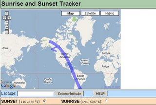 Sunset Sunrise Tracking Map - Zoomed Out