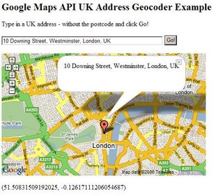 UK Addresses Geocoded using Google Maps API
