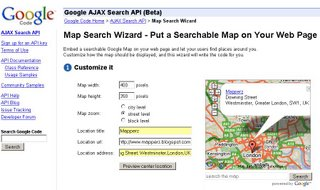 Google AJAX Search API Google Map Wizard