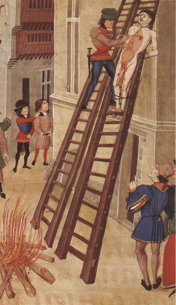 Hugh's execution, from a fifteenth-century manuscript of Froissart's