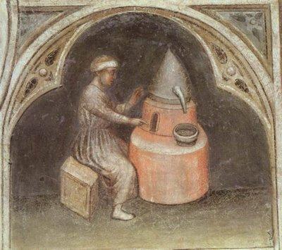 Alquimista com o seu forno. Fresco. Pádua, c. 1380