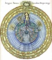 O Macrocosmos e o Microcosmos. Frontespício da Utriusque Cosmi Historia de Robert Fludd.