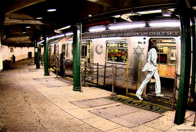 John Lennon boards a subway at Strawberry Fields Station.