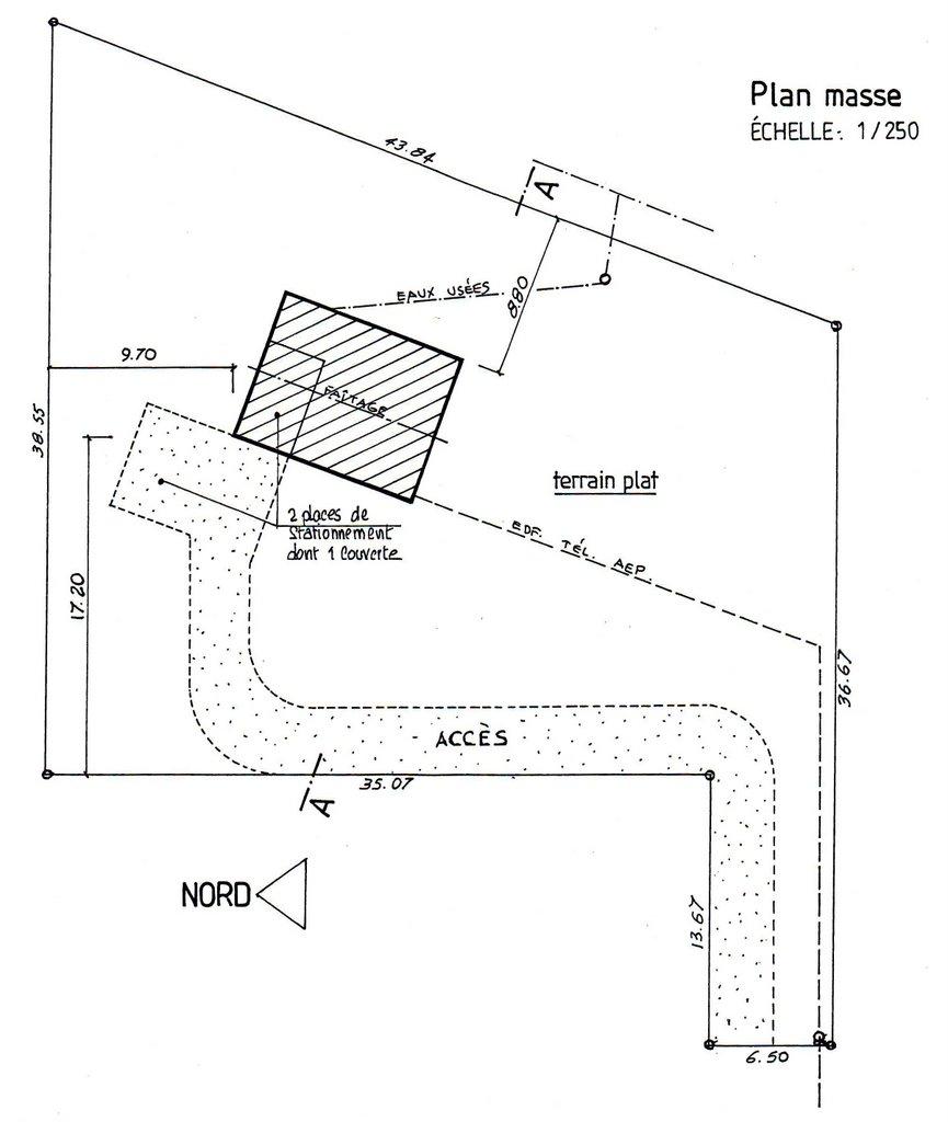 Une maison ossature bois plan de masse - Plan de masse cote dans les 3 dimensions ...