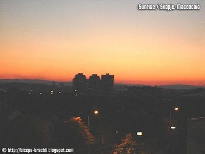 Sunrise in Skopje, Macedonia