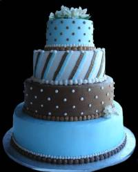 Blue and Brown Wedding Cake wc