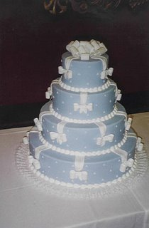 Blue Wedding Cake with White Bows wc