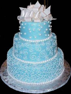 Blue Wedding Cake with Pearls wc
