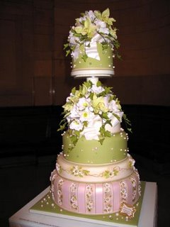 Pink and Green Unique Wedding Cake wc