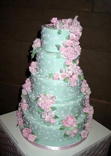 Pink Rose Swag Wedding Cake wc