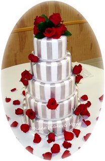 Silver Stripes and Red Roses Wedding Cake