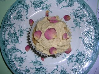 top view of rose petal decorated cupcake