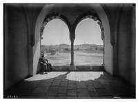 View of Olivet through arches of Moslem [i.e., Muslim] Supreme Council. REPRODUCTION NUMBER: LC-DIG-matpc-04175
